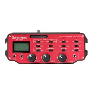 Saramonic-SR-AX104-2-Channel-XLR-Audio-Adapter-with-Phantom-Power-Monitor-Red-Black-B00SSH0SR2