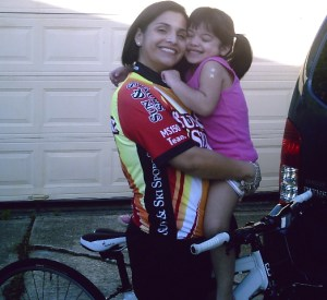 Gomez is shown here with her four-year-old daughter, Trinity