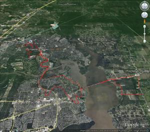 Today's ride route - Google Earth
