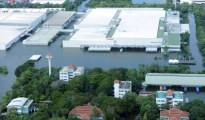 Flooded Canon factory at an industrial estate in the hard-hit province of Pathum Thani, north of Bangkok