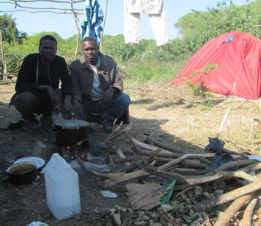 Refugees in Calais camp, France