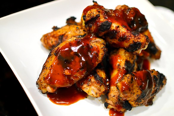 Chicken Wings with Molasses Barbecue Sauce | That Square Plate