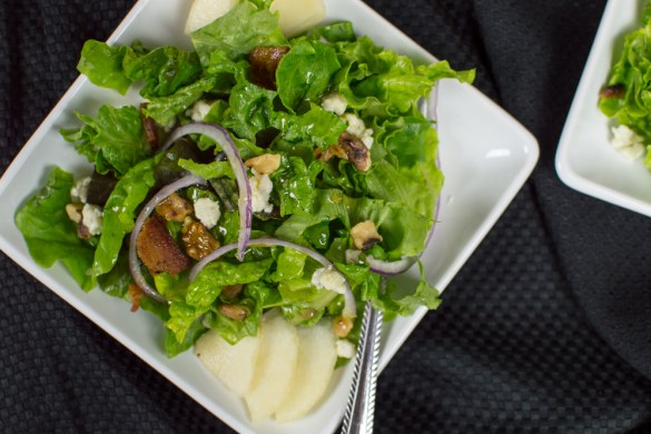 Bacon, Gorgonzola & Pear Salad with a Brandy Vinaigrette