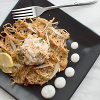 Potato Waffles with a Saffron-Crab Topping