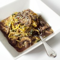 Zoodles with a Mushroom Merlot Sauce