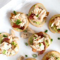 Crab, Bacon, & Guacamole Crostinis