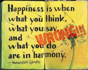 Happiness is when what you think, what you say and what you do are in harmony. - Mohandas Gandi