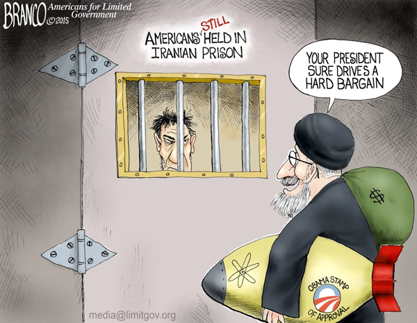 Cartoon nuke deal arranged by Obama; no Americans freed in the deal...just like deal with Cuba, Obama got nothing and gave everything.