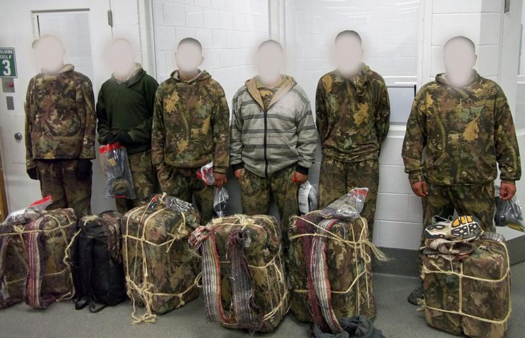 Six aliens nabbed by Border and Custom Patrol as the snuck across the border with their burden of pot waiting to add fuel to the murders and crime associated with supplying America's dopers with more dope.