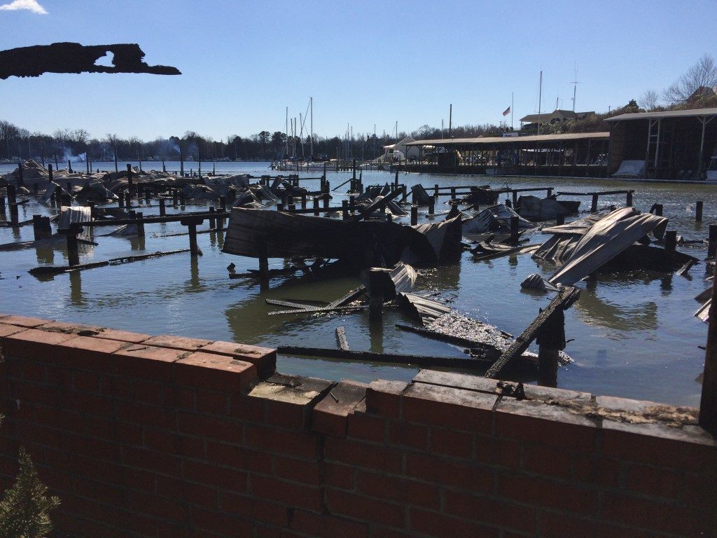 Dozier Port Marina in Urbanna, Va. where two bodies were found in debris of burned out boats. Divers are searching boat wrecks for any additional bodies.