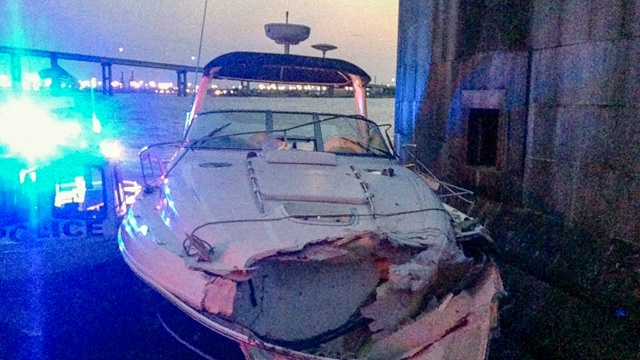 This photo of the boat that hit a large concrete abutment that protects the Key Bridge from ships and barges was posted on Twitter
