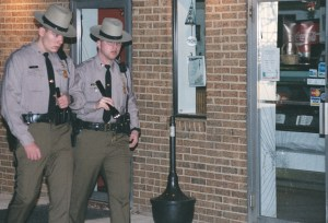 Maryland State Trooper Eric Evans, right.