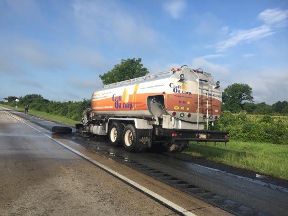 Oil Truck fire Bear, Del. Rt. 1 Del State Police photo 080616