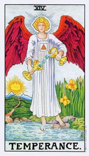 Betekenis van de tarotkaart gematigdheid in het kaarleggen met de tarot op de website van de Tarot Lezer.
