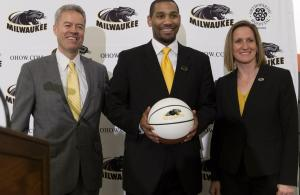 New UW-Milwaukee mens basketball coach Lavall Jordan (center) is shown with chancellor Mark Mone (left) and Amanda Braun during a news conference Friday, April 8, 2016 at UW-Milwaukee in Milwaukee, Wis.