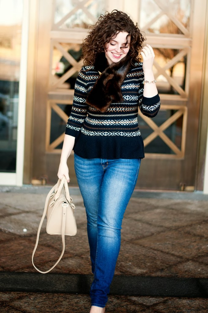 Winter Outfit with Fur Scarf and Fair Isle