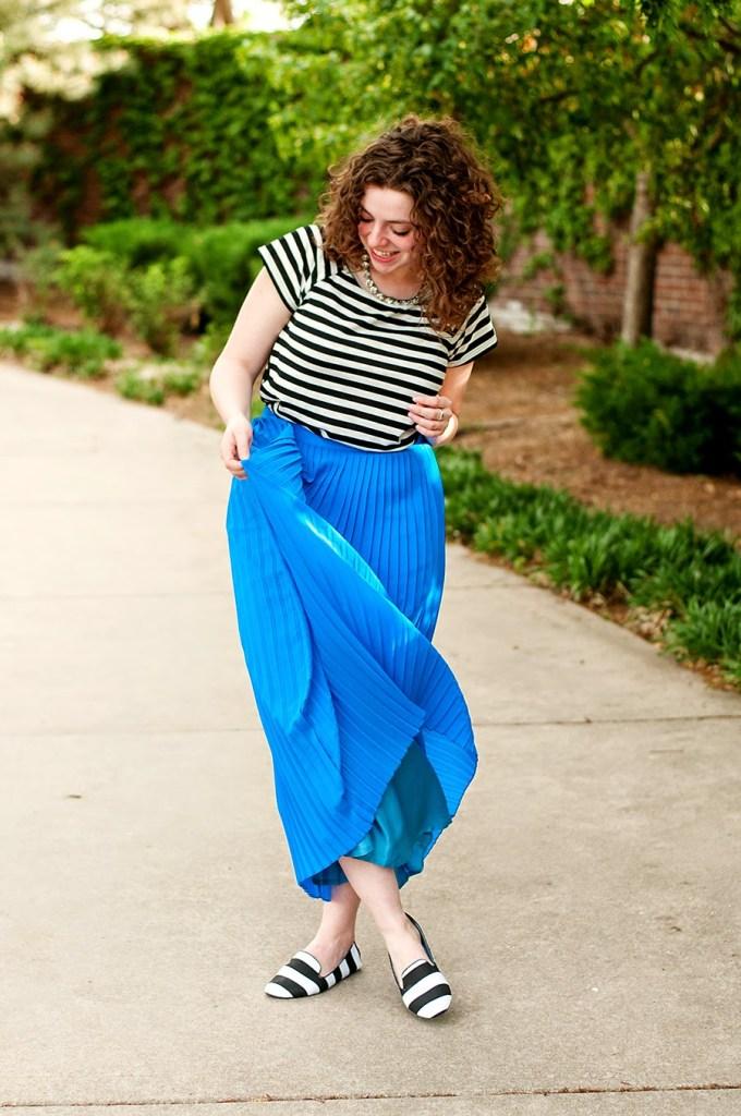 stripes + maxi pleated skirt