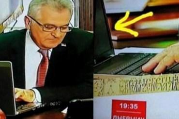 """Presidenti i Serbisë """"shkruan"""" gjithë tekstin me laptop të fikur"""