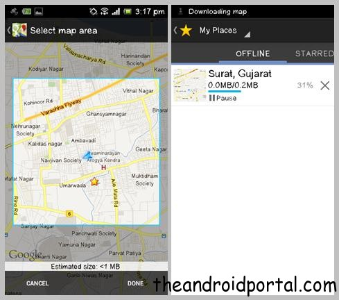 Offline Downloaded Google Map For Android