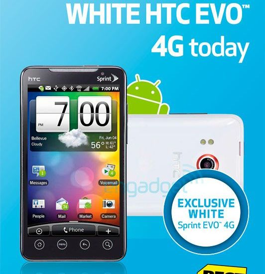 White EVO 4G HTC Best Buy