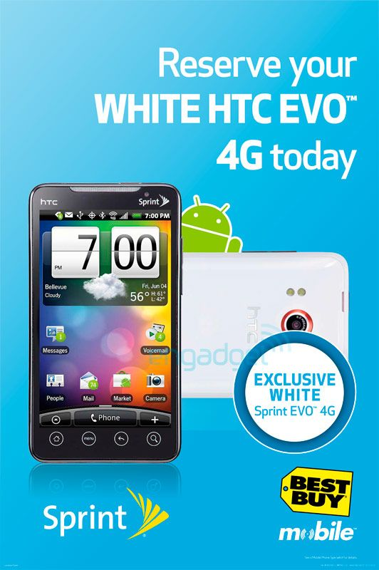 White EVO 4G HTC Best Buy