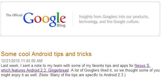 Official Google Tips