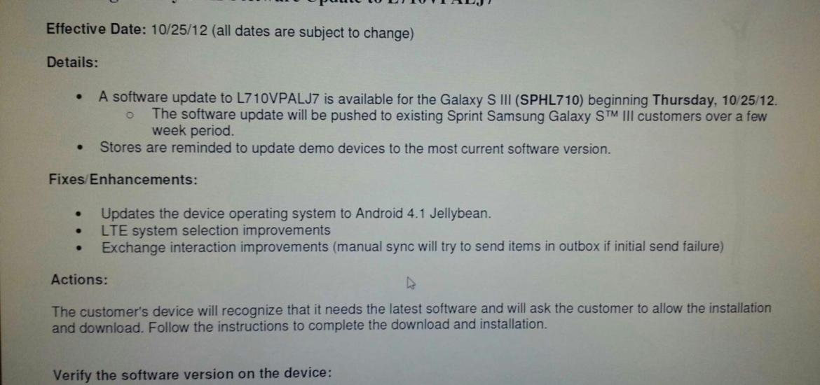 Sprint Galaxy S3 Jelly Bean Update