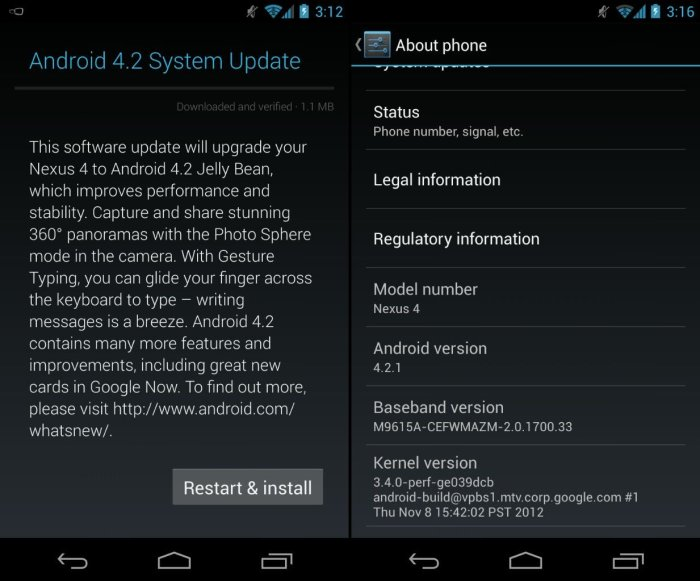 Nexus 4 Android 4.2.1 Update
