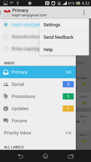 Gmail 4.5 Slide Out Navigation
