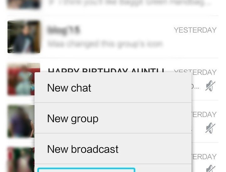 WhatsApp Web option in WhatsApp App APK