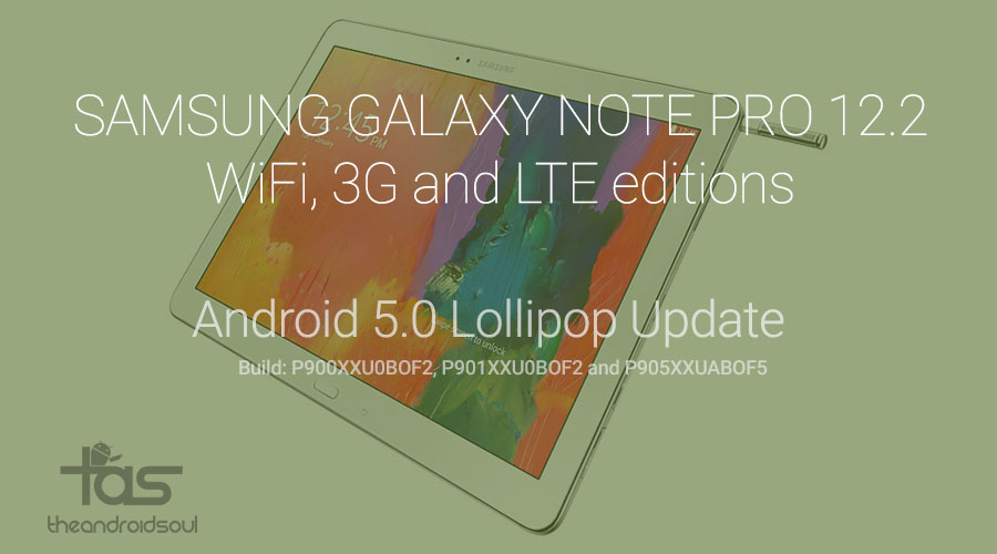 Galaxy Note PRO 12.2 Lollipop Update