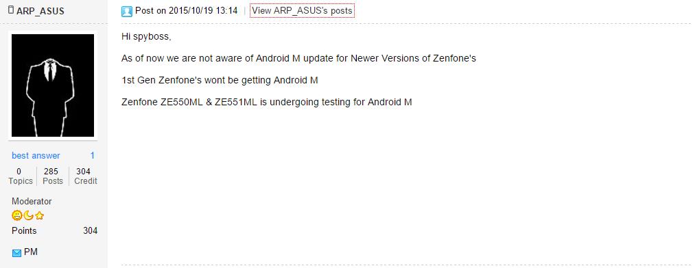 Marshmallow Update Asus Zenfone 5