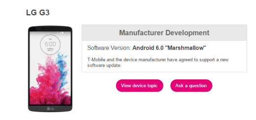 T-Mobile LG G3 Marshmallow Update release