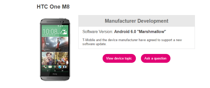 T-Mobile One M8 Marshmallow Update