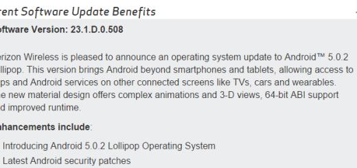 Verizon Xperia Z2 tablet lollipop update