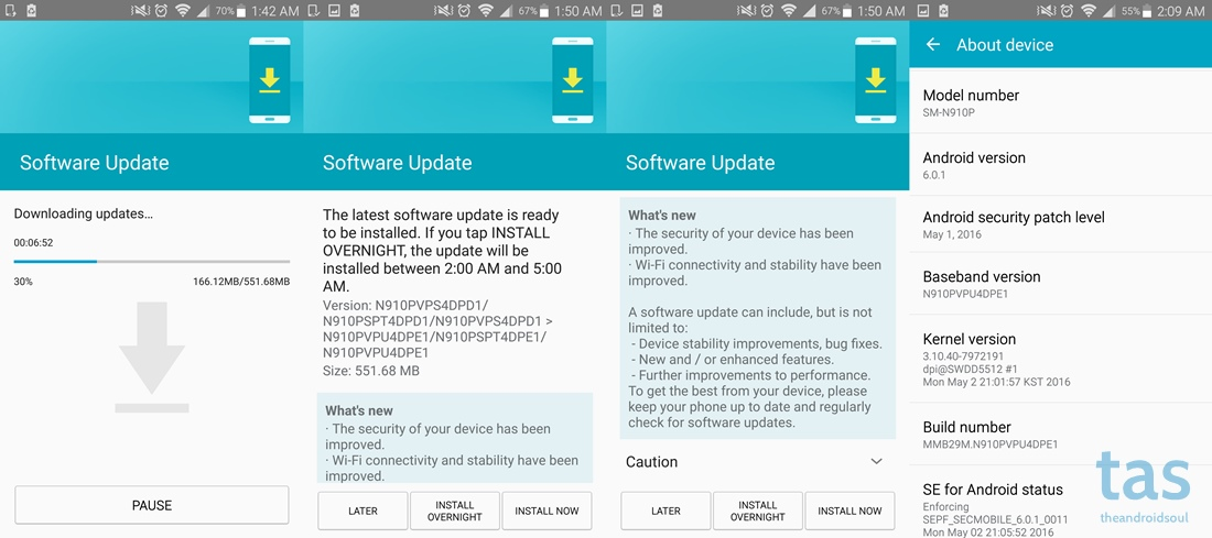 Sprint Note 4 PE1 update