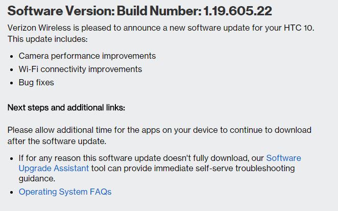 htc 10 verizon update