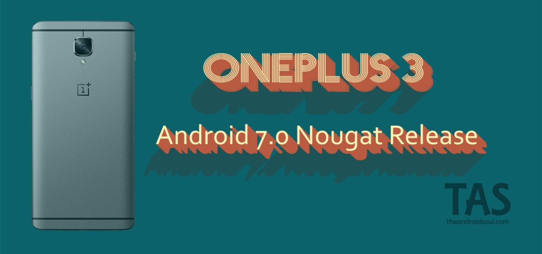 OnePlus 3 Nougat update