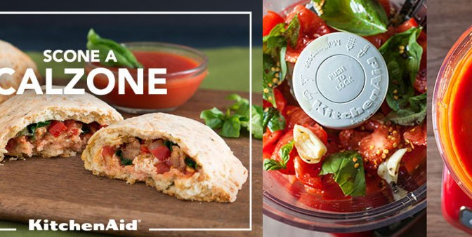 Savory Herb and Cheese Scone Calzones with Sausage, Veggies & Cheese on the KitchenAid blog!