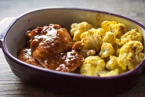 Maple Mustard Chicken w/ Roasted Curried Cauliflower