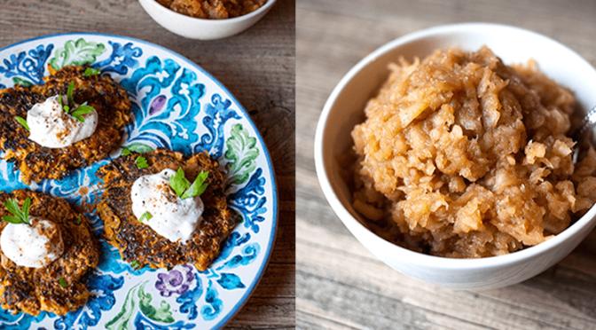 Zucchini & Sweet Potato Pancakes w/ Homemade Apple Sauce