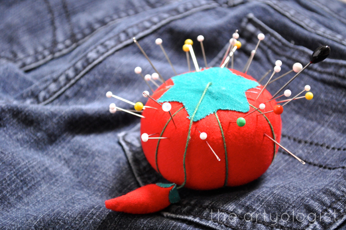 Taking part in the Refashioners, pincushion, the artyologist