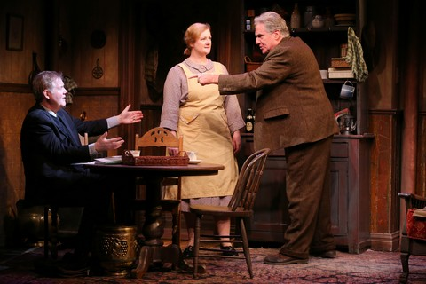 "Ciarán O'Reilly, Fiana Toibin and Paul O'Brien in a scene from The Irish Repertory Theatre's revival of Hugh Leonard's ""Da"" (Photo credit: Carol Rosegg)"