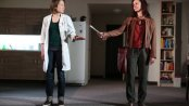 "Florencia Lozano and Carrie Coon in a scene from ""Placebo"" (Photo credit: Joan Marcus)"