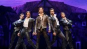 "Christian Borle as Shakespeare (center) with Ryan VanDenBoom, Eric Sciotto, Bud Weber and Aleks in Pevec in a scene from ""Something Rotten!"" (Photo credit: Joan Marcus)"