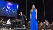Sutton Foster with The New York Pops and Maestro Steven Reineke as they appeared at Forest Hills Stadium on August 6, 2015 (Photo credit: Richard Termine)