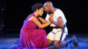 """Karen Olivo and Brandon Victor Dixon in a scene from The Public Theater's free Public Works production of """"The Odyssey"""" at the Delacorte Theater (Photo credit: Joan Marcus)"""