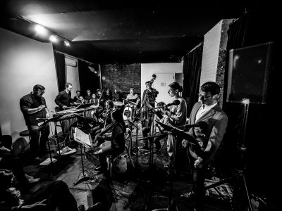 """James Ilgenfritz's Anagram Ensemble as they appeared at Experiments in Opera: """"The Travel Agency Is On Fire: Burroughs Cuts Up the Great Bards"""" (Photo credit: Peter Gannushkin)"""