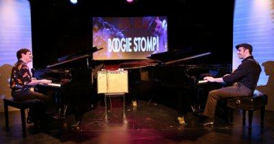 """Bob Baldori and Arthur Migliazza in a scene from """"Boogie Stomp!"""" (Photo credit: Rebecca Scheckman)"""