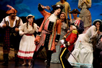"""David Wannen as the Pirate King and Stephen Quint as Major General Stanley in a scene from """"The Pirates of Penzance"""" (Photo credit: William Reynolds)"""